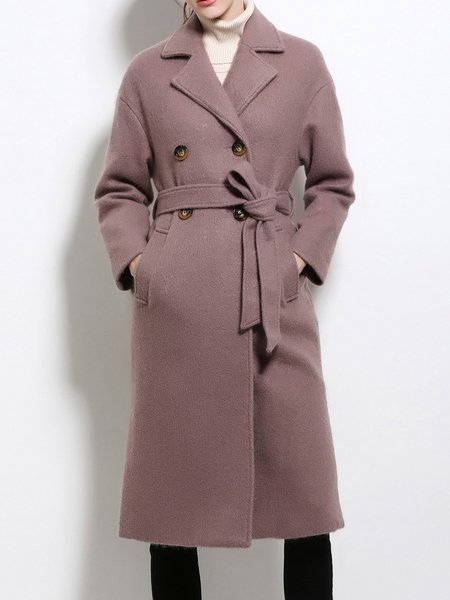 Solid Long Sleeve Lapel Elegant Trench Coat With Belt