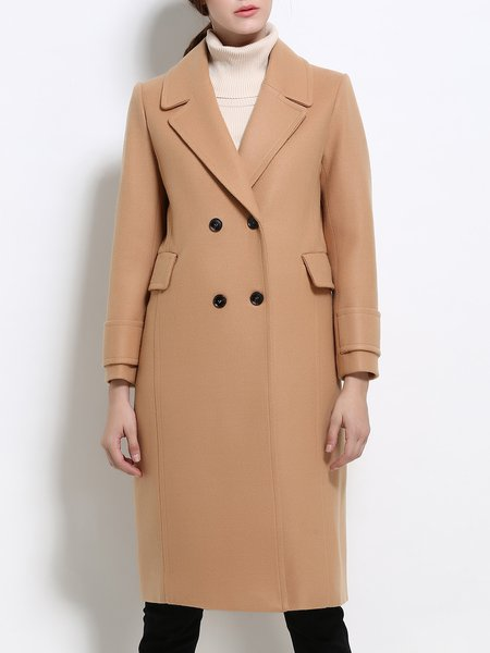 Khaki Solid Long Sleeve Buttoned Wool Blend Coat
