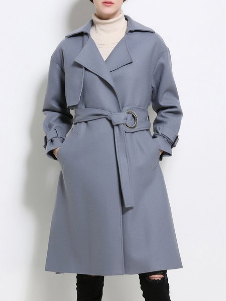 Lapel Long Sleeve Wool Blend H-line Solid Coat