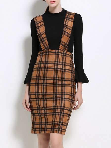 Khaki Spaghetti Checkered/Plaid Sheath Casual Midi Dress