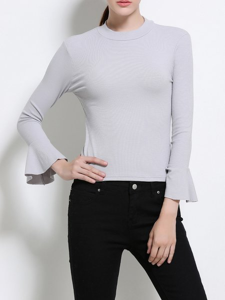 Casual Solid Frill Sleeve Long Sleeved Top