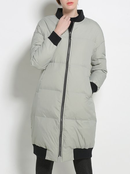 Stand Collar H-line Color-block Down Coat