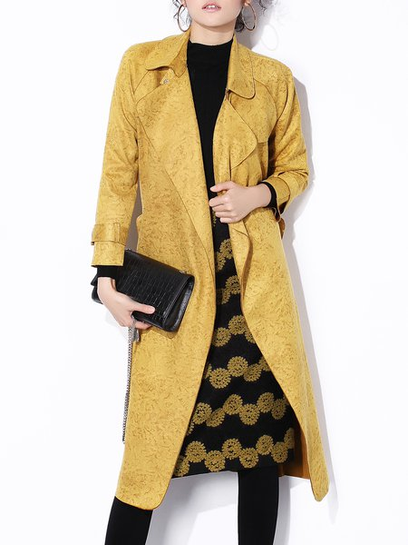 Yellow Long Sleeve H-line Faux Suede Coat with Belt