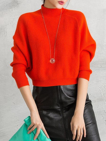 Orange Knitted Angora-blend Stand Collar Girly Sweater