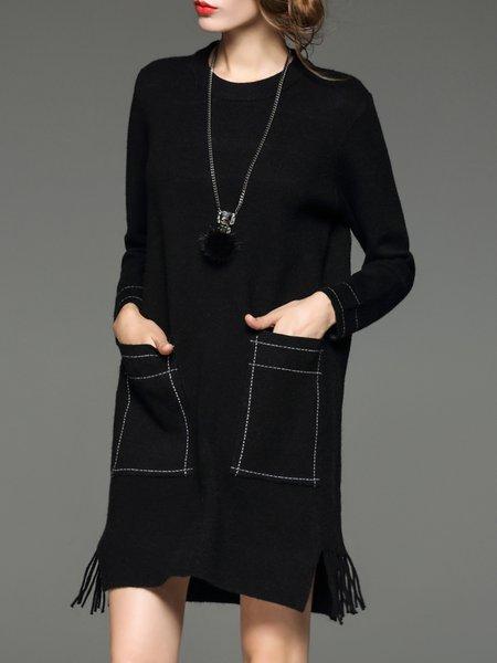 Fringed H-line Long Sleeve Wool Blend Midi Dress