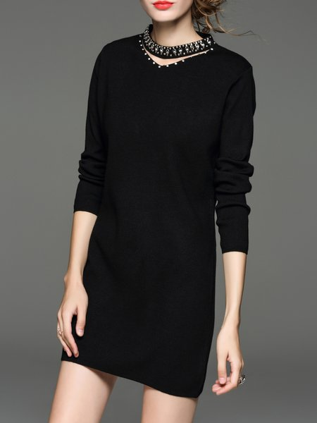 Black H-line Plain Beaded Elegant Sweater Dress