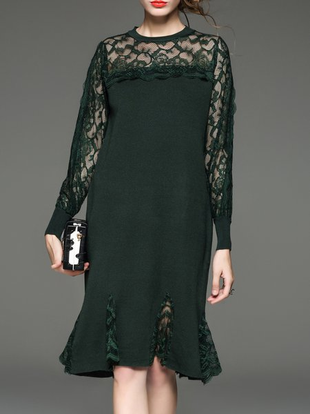 Green Long Sleeve Tencel Stand Collar Midi Dress