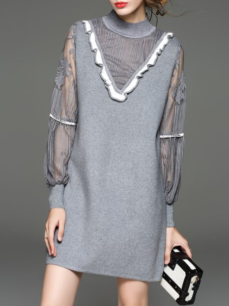 Balloon Sleeve Paneled Wool Blend Mini Dress