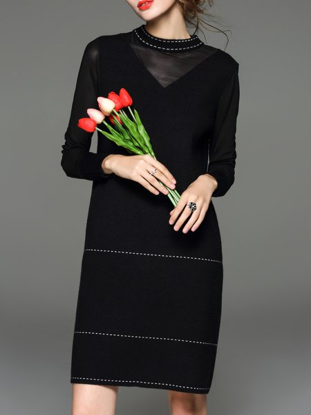 Black Long Sleeve Paneled Wool Blend Midi Dress