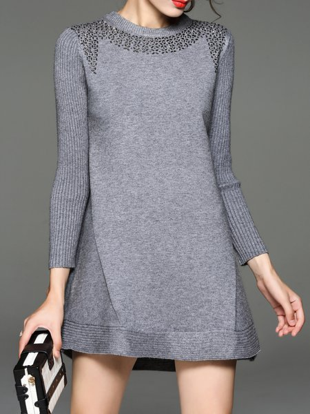 Beaded Wool Blend Long Sleeve Sweater Dress