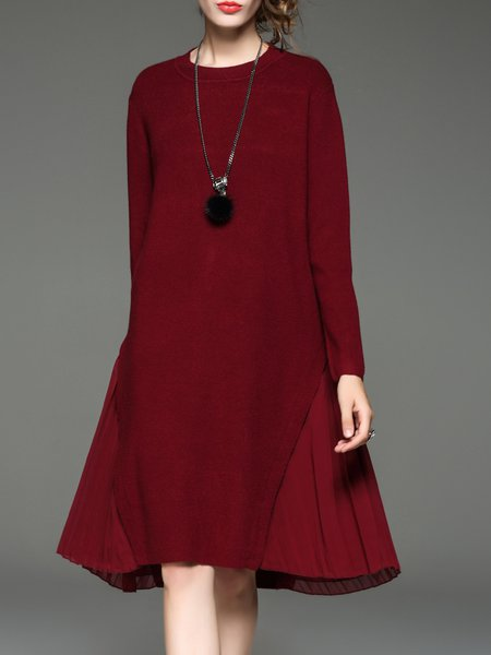 Long Sleeve Wool Blend Stand Collar Paneled Sweater Dress