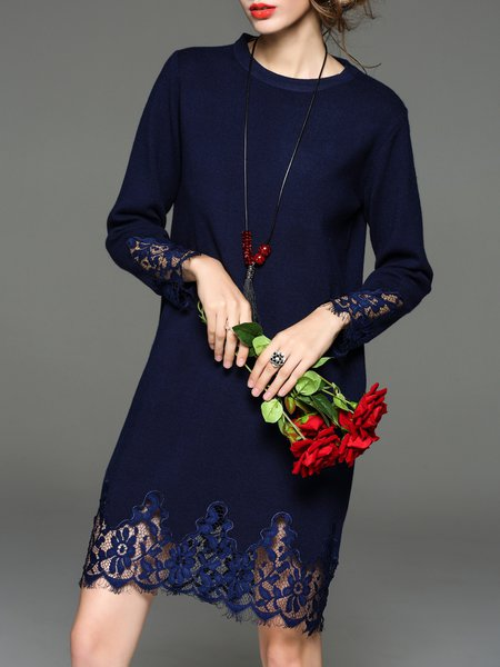 Paneled H-line Elegant Embroidered Wool Blend Sweater Dress