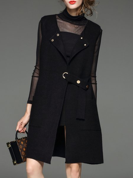 Black Wool Blend Solid A-line Sleeveless Cardigan