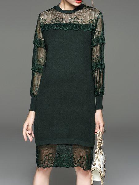 Pierced Stand Collar Long Sleeve Elegant Sweater Dress