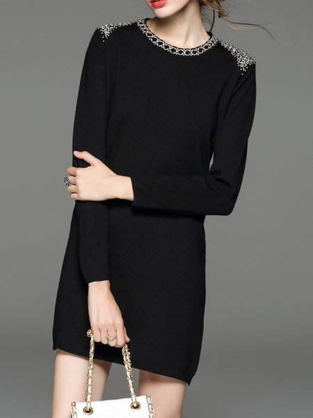Black Beaded Long Sleeve H-line Solid Sweater Dress