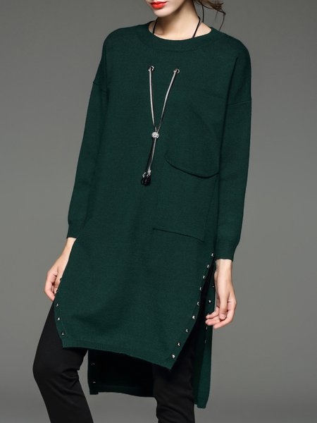 Green Plain Wool Blend Slit Rivet Sweater with Necklace