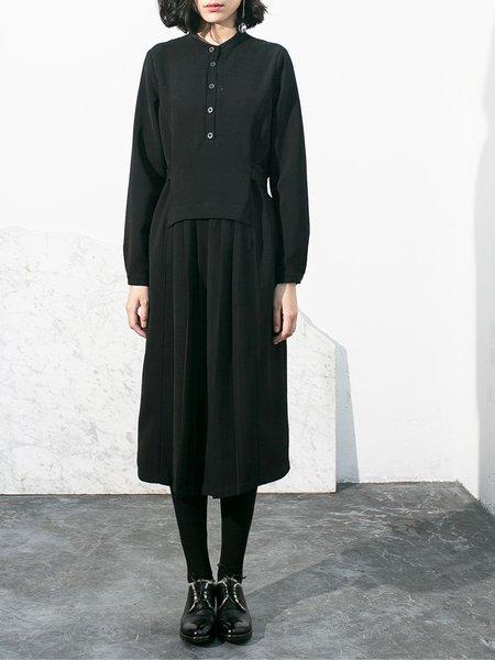 Black Stand Collar Long Sleeve Pleated Casual Midi Dress