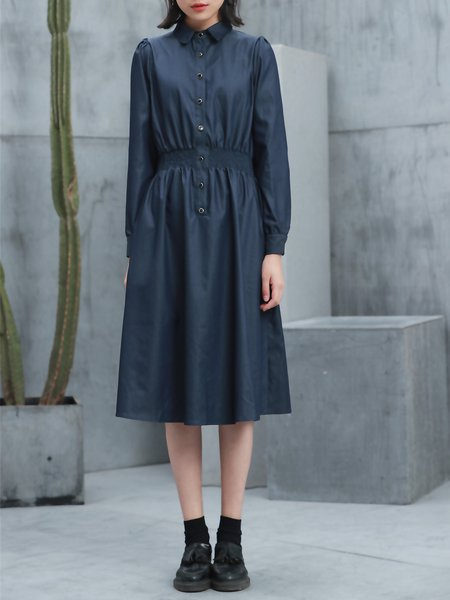 Dark Blue Shirred Buttoned Denim Long Sleeve Midi Dress