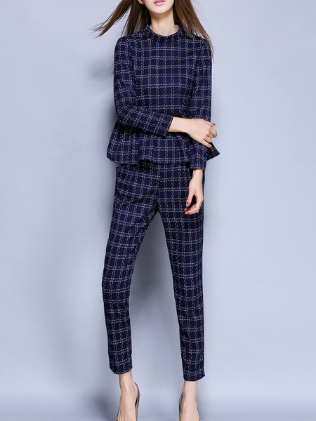 Dark Blue Two Piece Ruffled Peplum Long Sleeve Jumpsuit
