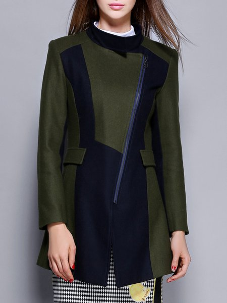 Olive Green Zipper Wool Blend Statement Coat