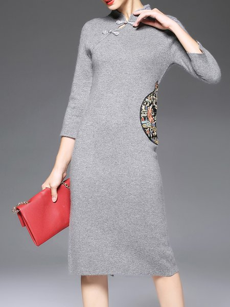 Long Sleeve Vintage Embroidered Midi Dress