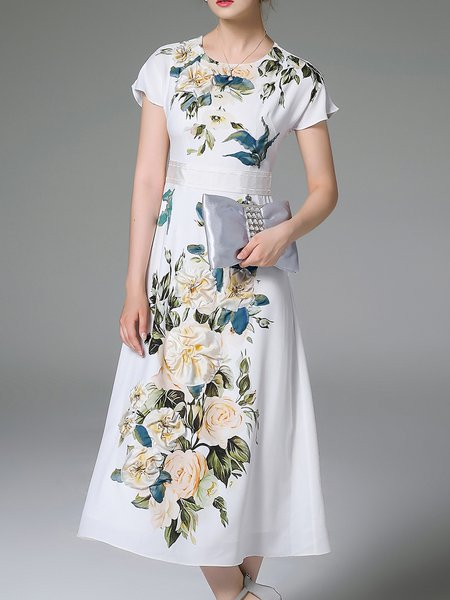 White Elegant Polyester Floral-print Midi Dress