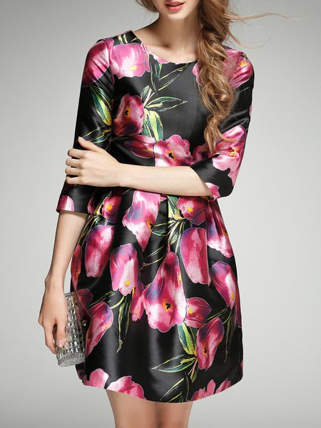 3/4 Sleeve Floral-print Polyester Skater Midi Dress