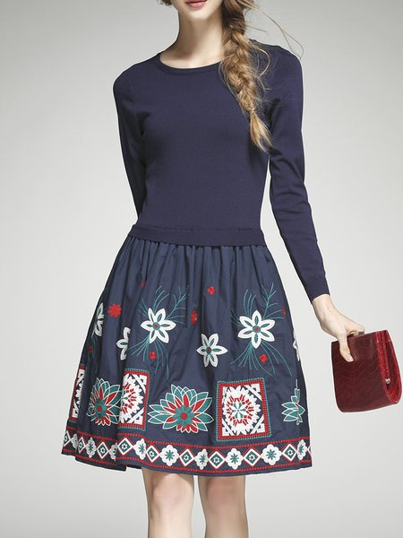 Dark Blue Long Sleeve Polyester Embroidered Midi Dress
