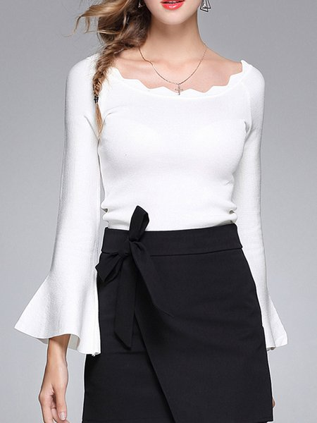 Flared Sleeve Elegant Bateau Neck Polyester Sweater