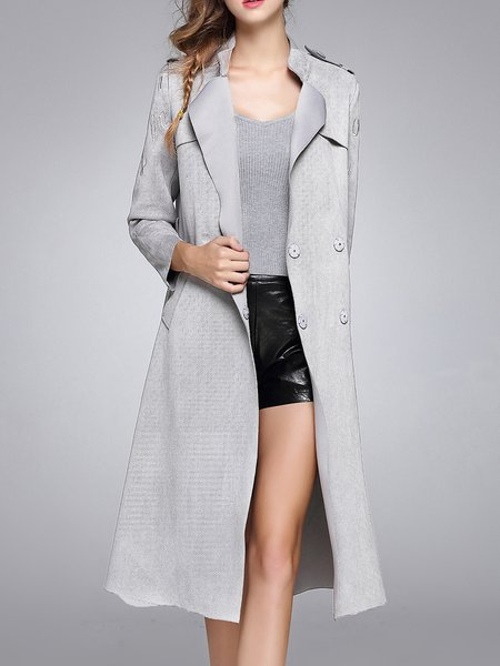 Faux Suede Long Sleeve Pockets Stand Collar Coat with Belt