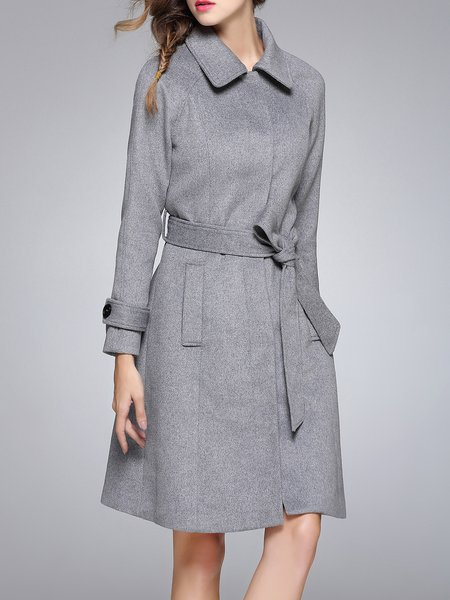 Wool Blend Solid Long Sleeve Shirt Collar Coat with Belt