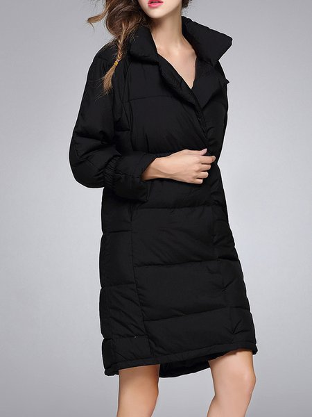 Plain Pockets Long Sleeve Polyester Down Coat