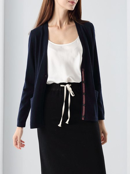 Royal Blue Buttoned Cotton-blend Long Sleeve Cardigan