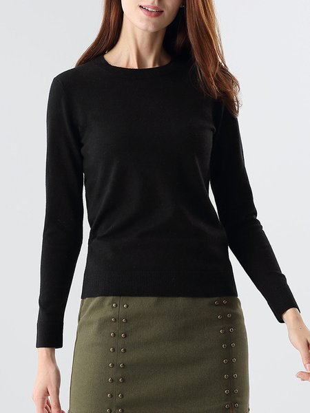 Black Crew Neck Solid Long Sleeve Sweater