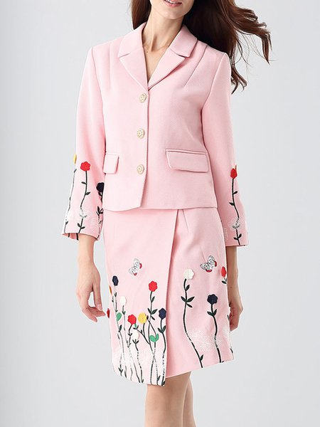 Two Piece Buttoned Pockets Floral Elegant Wool Suits And Separate