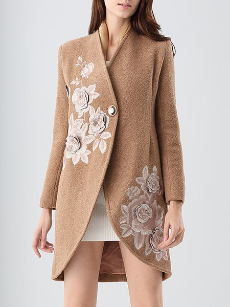 Camel Floral-embroidered Elegant Coat