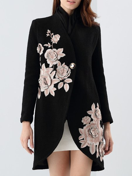 Black Long Sleeve Embroidered Elegant A-line Coat
