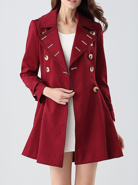 Deep Red Long Sleeve Plain Lapel Buttoned Coat