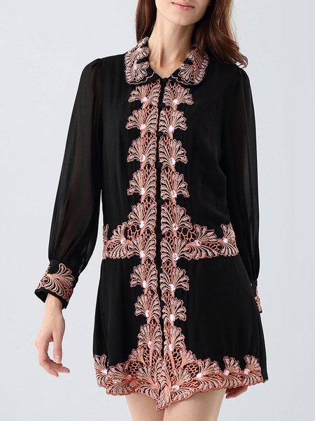 Vintage Floral Beaded Polyester H-line Tunic