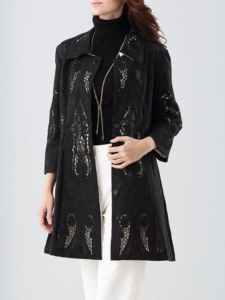 Buttoned  Floral H-line 3/4 Sleeve Cutout Coat