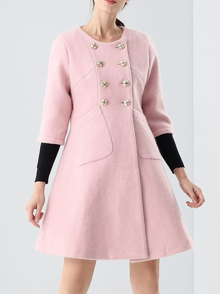 Pink Wool Crew Neck A-line Pockets Long Sleeve Coat