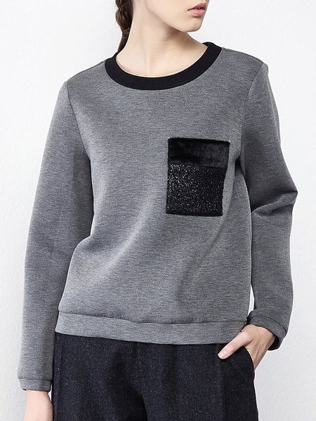 Appliqued Crew Neck Long Sleeve Sweatshirt