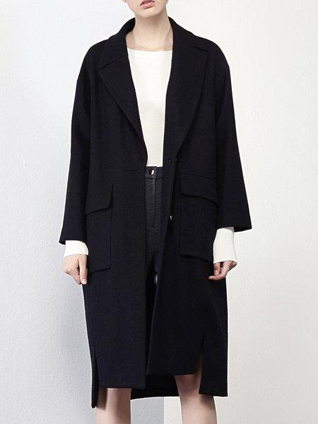 Pockets Slit Solid Long Sleeve Lapel Wool Blend Coat
