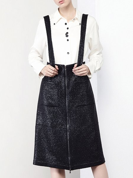 Black Street Zipper Overall Midi Skirt