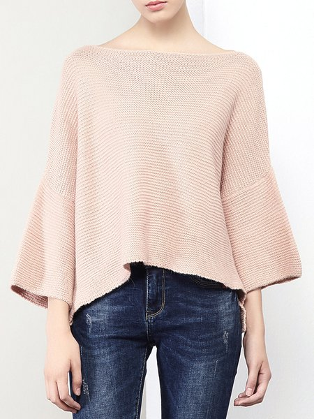 Pink Batwing Casual Wool Mohair Plain Sweater