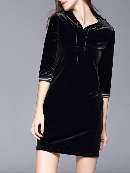Black H-line Girly Hoodie Velvet Mini Dress
