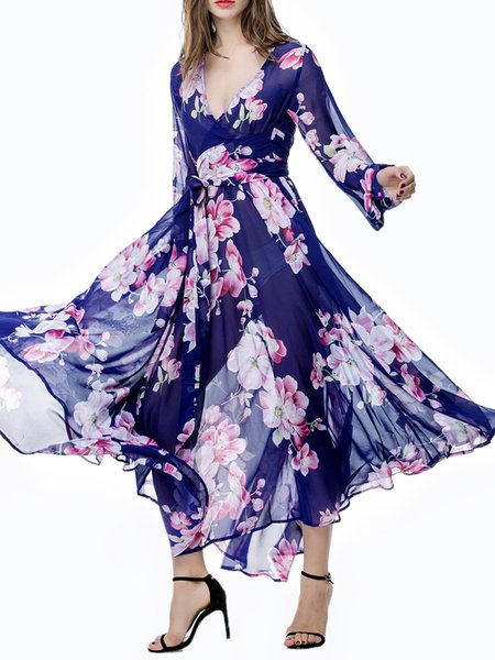 Blue Long Sleeve V Neck Floral Print Maxi Dress