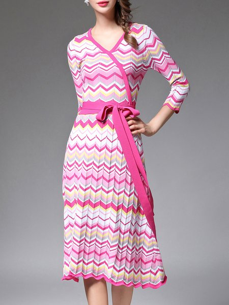 Elegant A-line 3/4 Sleeve Knitted Midi Dress with Belt