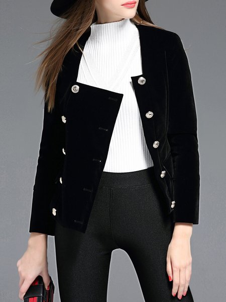 Black Buttoned Square Neck Velvet Cropped Jacket