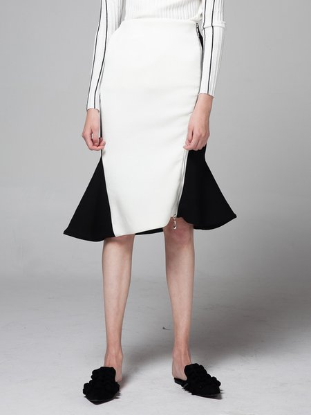 White Color-block Elegant Mermaid Midi Skirt